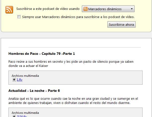 RSS visto en Firefox