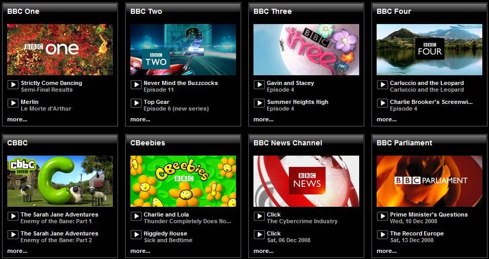 Selector de canales de la BBC